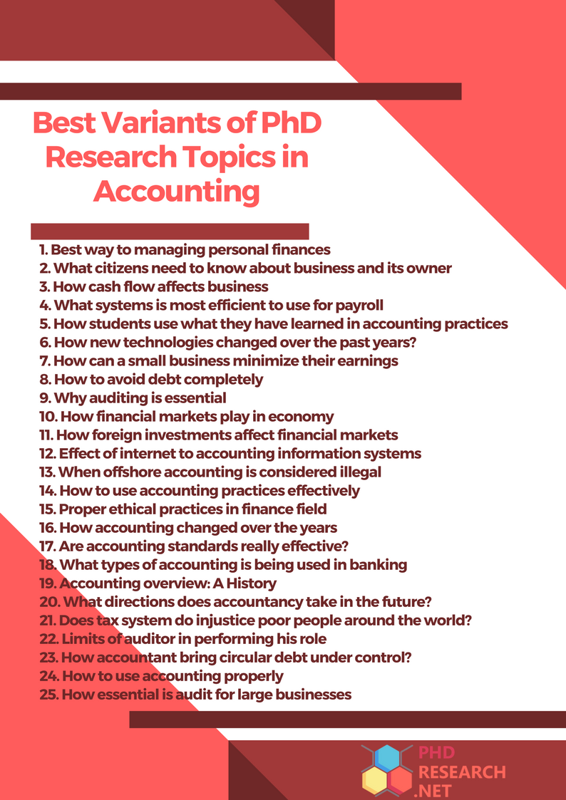 best variants of PhD research topics in accounting