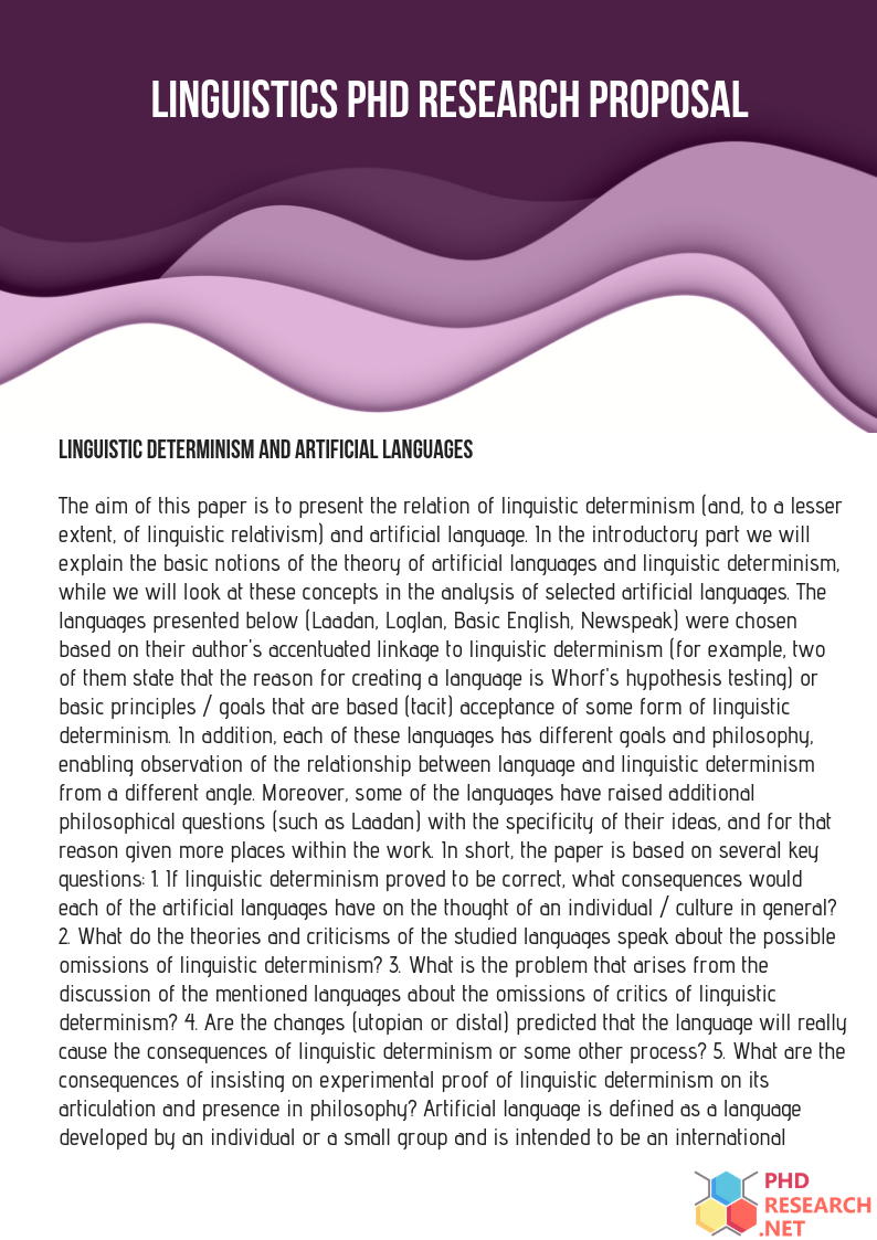 linguistics phd research proposal